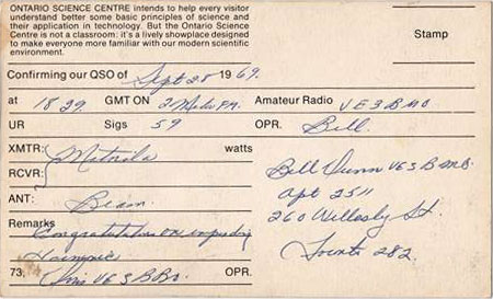 A 1969 VE3OSC QSL card confirming a local Toronto contact via 2m FM.