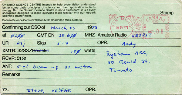 The reverse side of the 1973 QSL card from VE3OSC Toronto.