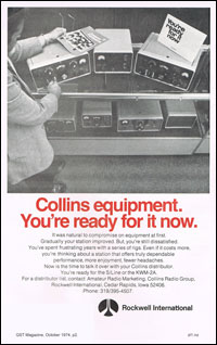 Collins radio advert - Oct 1974 QST