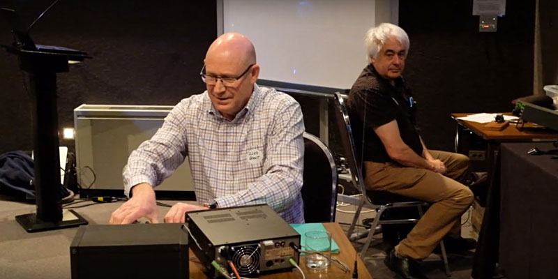 Grant (left) and Richard doing a simulated NZ Net at Eastfest
