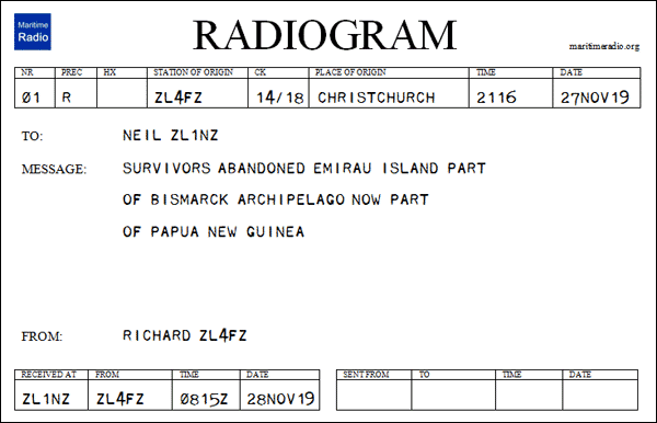 New Zealand Net Trivia Answer on a Radiogram form
