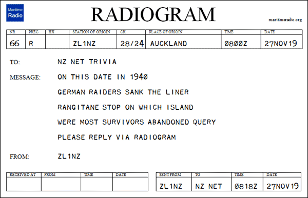 New Zealand Net Trivia Question on a Radiogram form