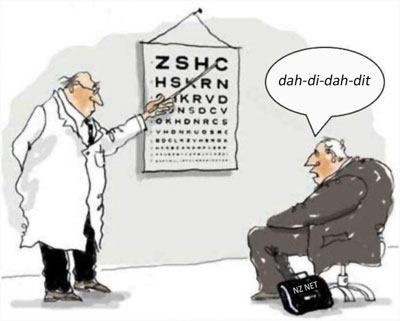 Optometrist points to letter C on eye test chart. Patient responds with dah-di-dah-dit.