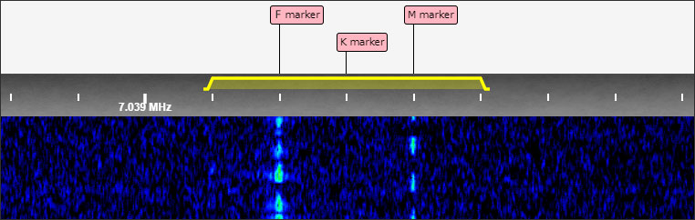 Waterfall display from ZL1ROT SDR, 0845Z, 29 Oct 2020 showing two morse beacon signals