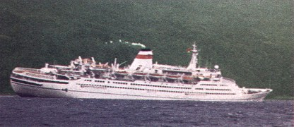 Mikhail Lermontov sinking at Port Gore in 1986