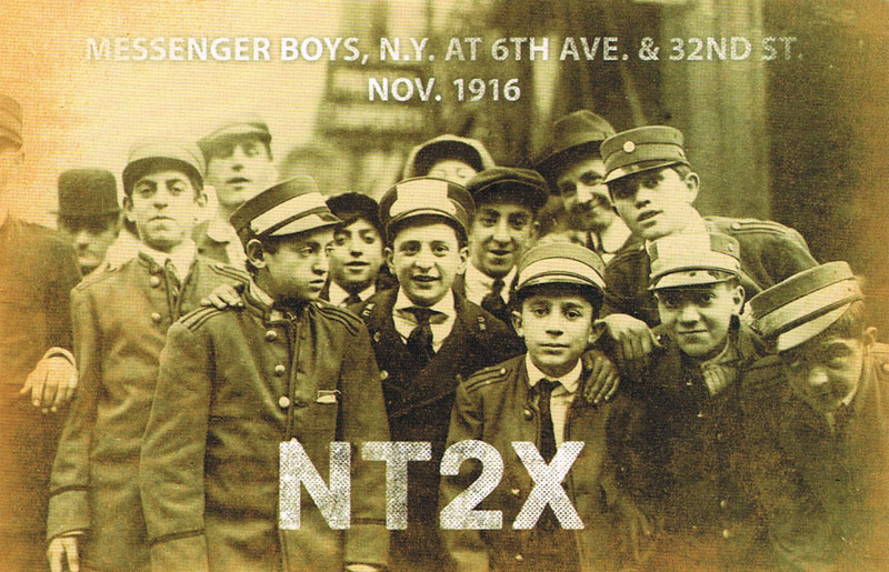 QSL card with photo of telegram message boys in New York City in 1916