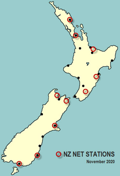 Map of NZ Net stations