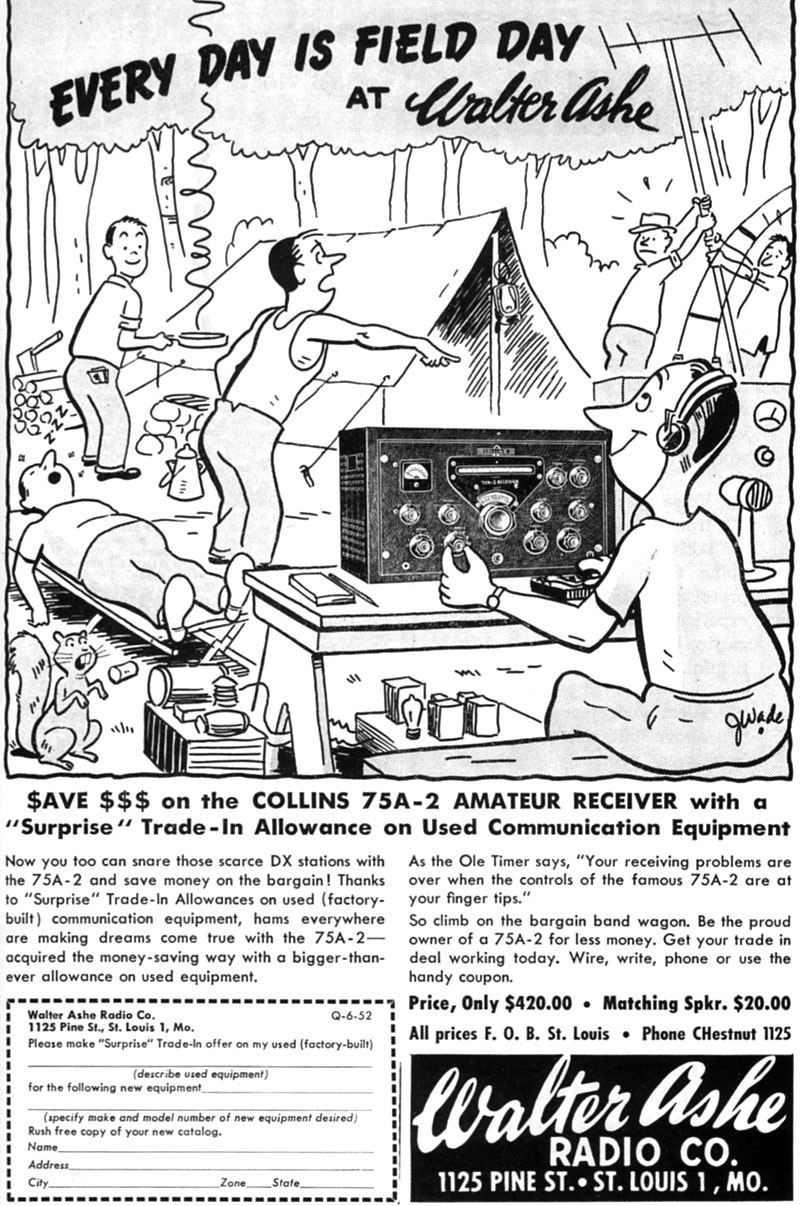 Advert for Collins 75A-2 in QST, June 1952