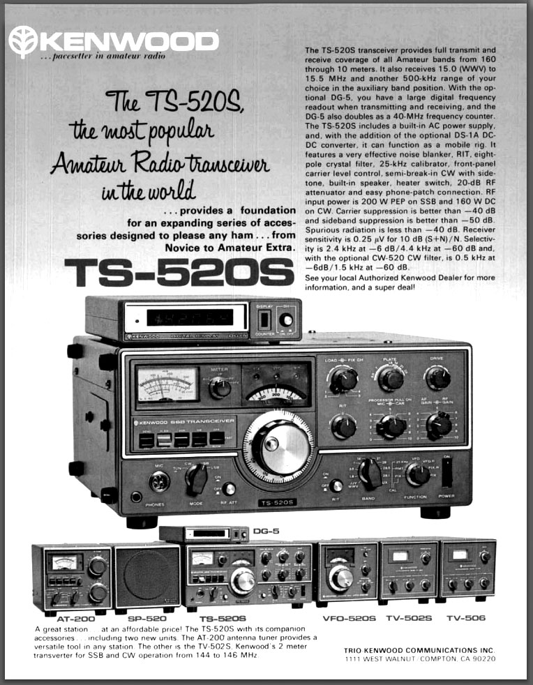 Magazine ad for TS-520S in 1978