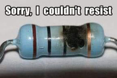 Burned resistor says 'sorry I couldn't resist'