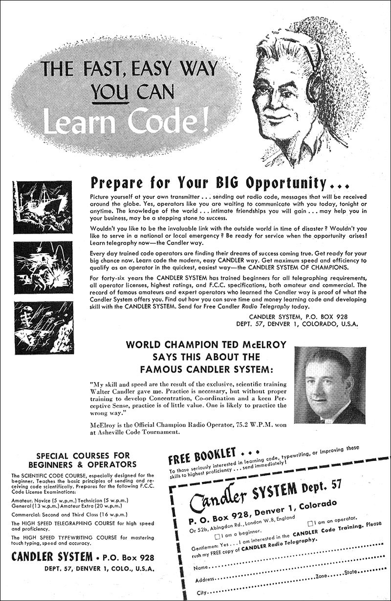 1957 advertisement for Candler System of Morse Code training