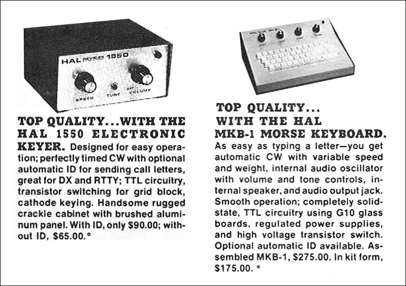 HAL keyer and keyboard advertisement from 1973